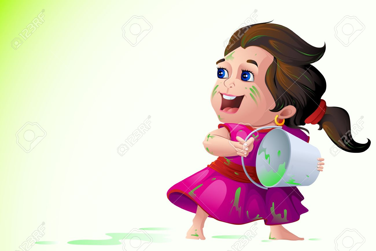 Kids Playing Holi Festival Royalty Free Cliparts, Vectors, And.