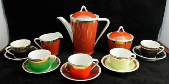 Hollohaza Hungary 15 Piece Demitasse Porcelain Tea Set by Dantage.