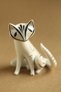 Vintage Hollohaza Deco Cat Figurine.