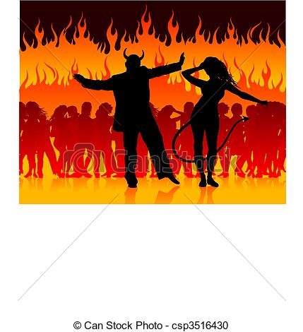 Vector Clipart of devil man and woman dancing in hell.