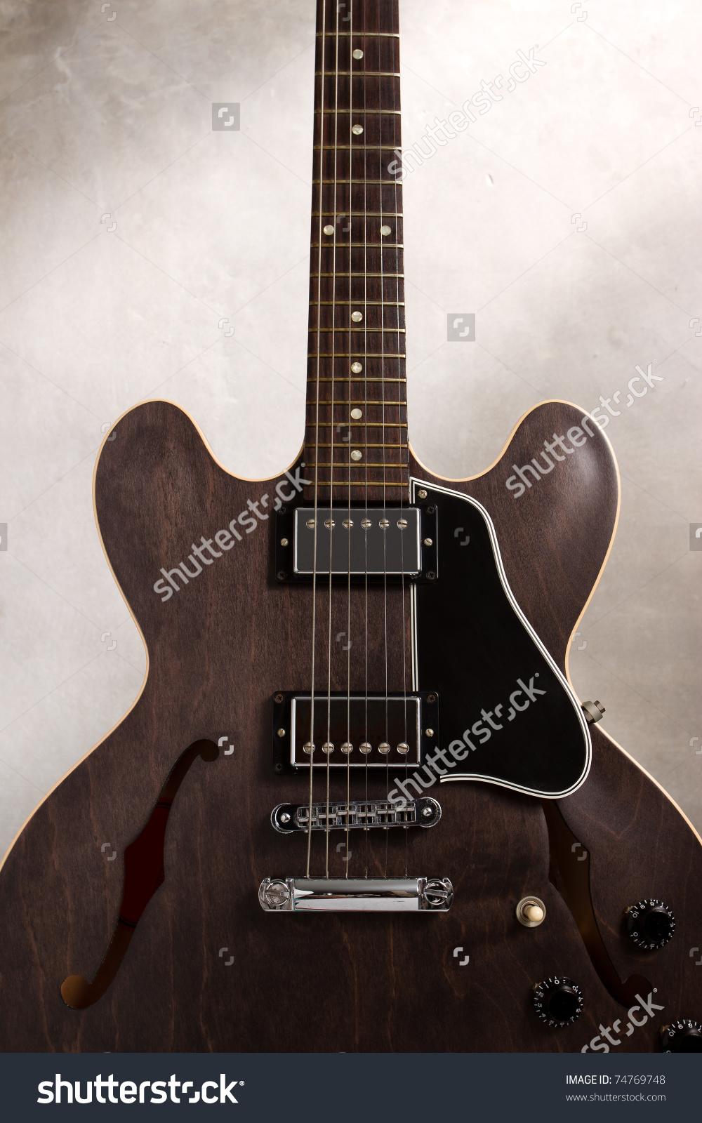 Close Semi Hollow Body Guitar Stock Photo 74769748.
