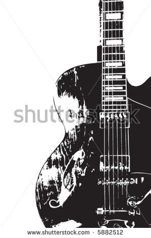 Hollow Body Guitar Clipart Black And White.