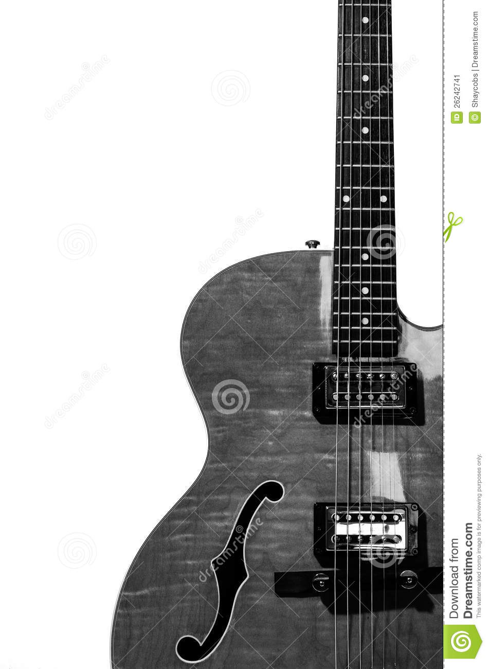 Hollow Body Electric Guitar In Black And White Stock Image.