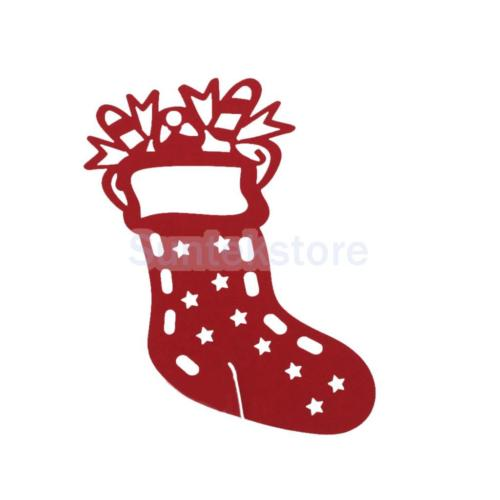 50pcs 3D Xmas Sock Paper Wine Cup Hollow Glass Place Cards Party.