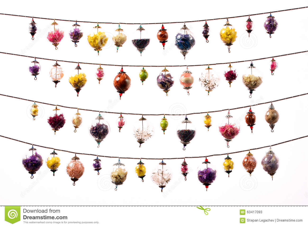 Colorful Glass Spheres Garland On White Stock Photo.