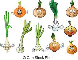 Vector of Cartoon green onion or scallion vegetable.