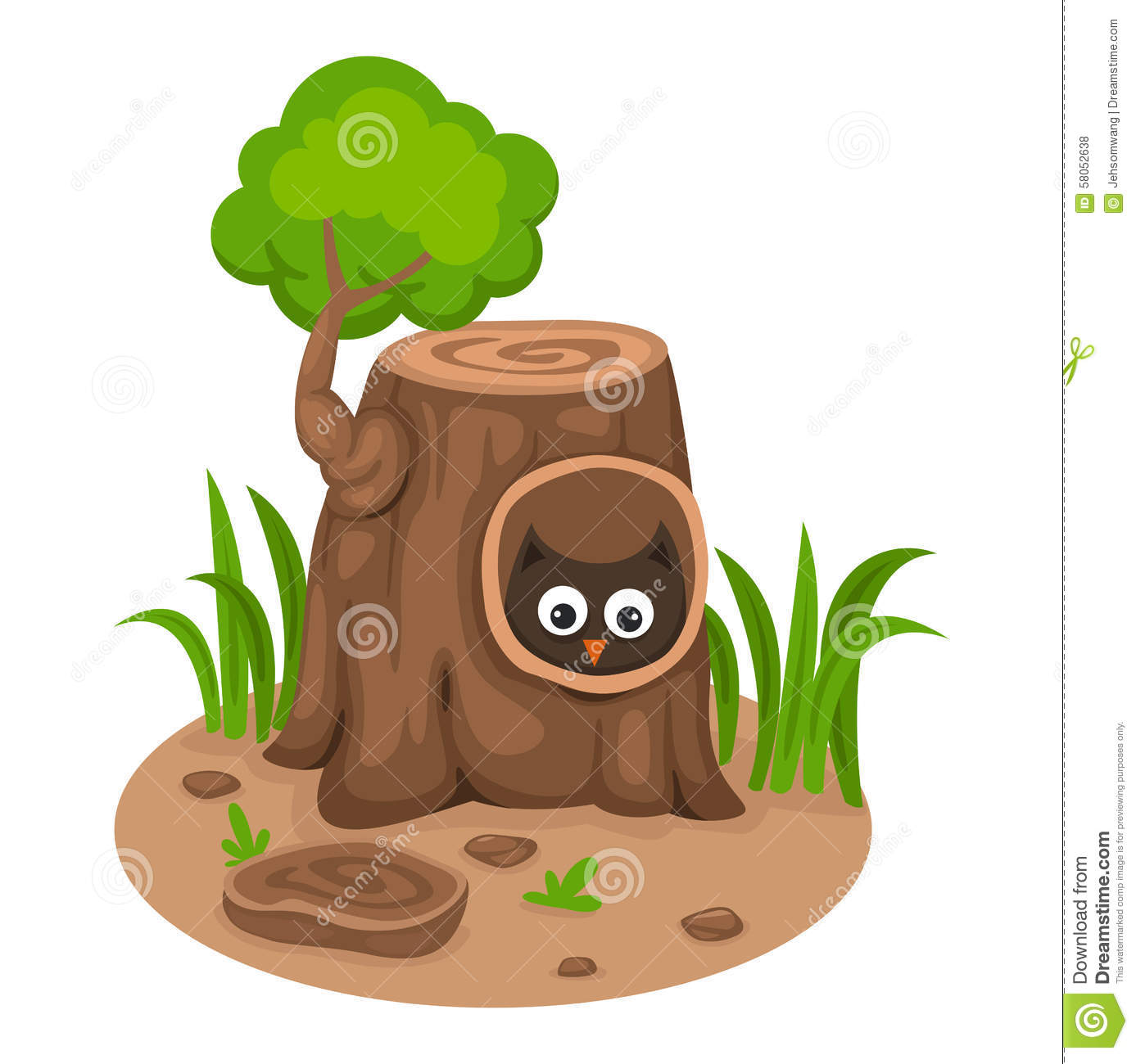 Old Hollow Tree Stock Illustrations.