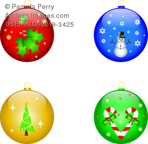 Clip Art Image of a Collection of Christmas Ornaments.