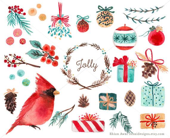 Watercolor Holiday Christmas Clip Art.
