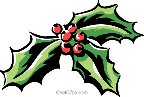 holly and ivy Royalty Free Vector Clip Art illustration.