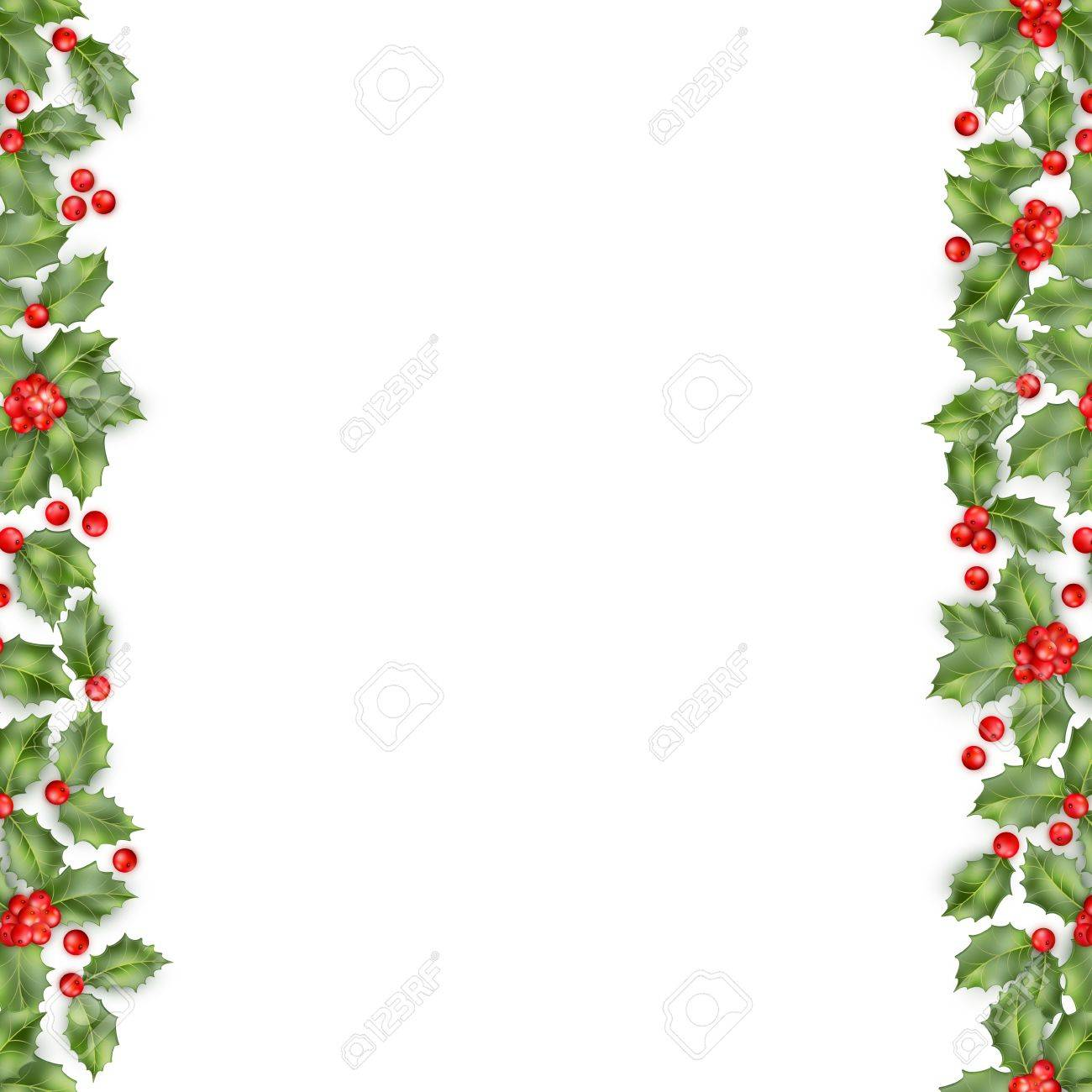 Seamless border from Christmas holly berry. EPS 10 vector.