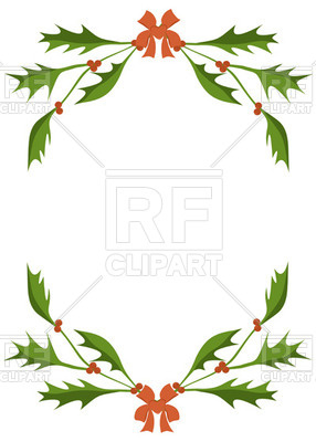Frame of holly berry branches Vector Image.