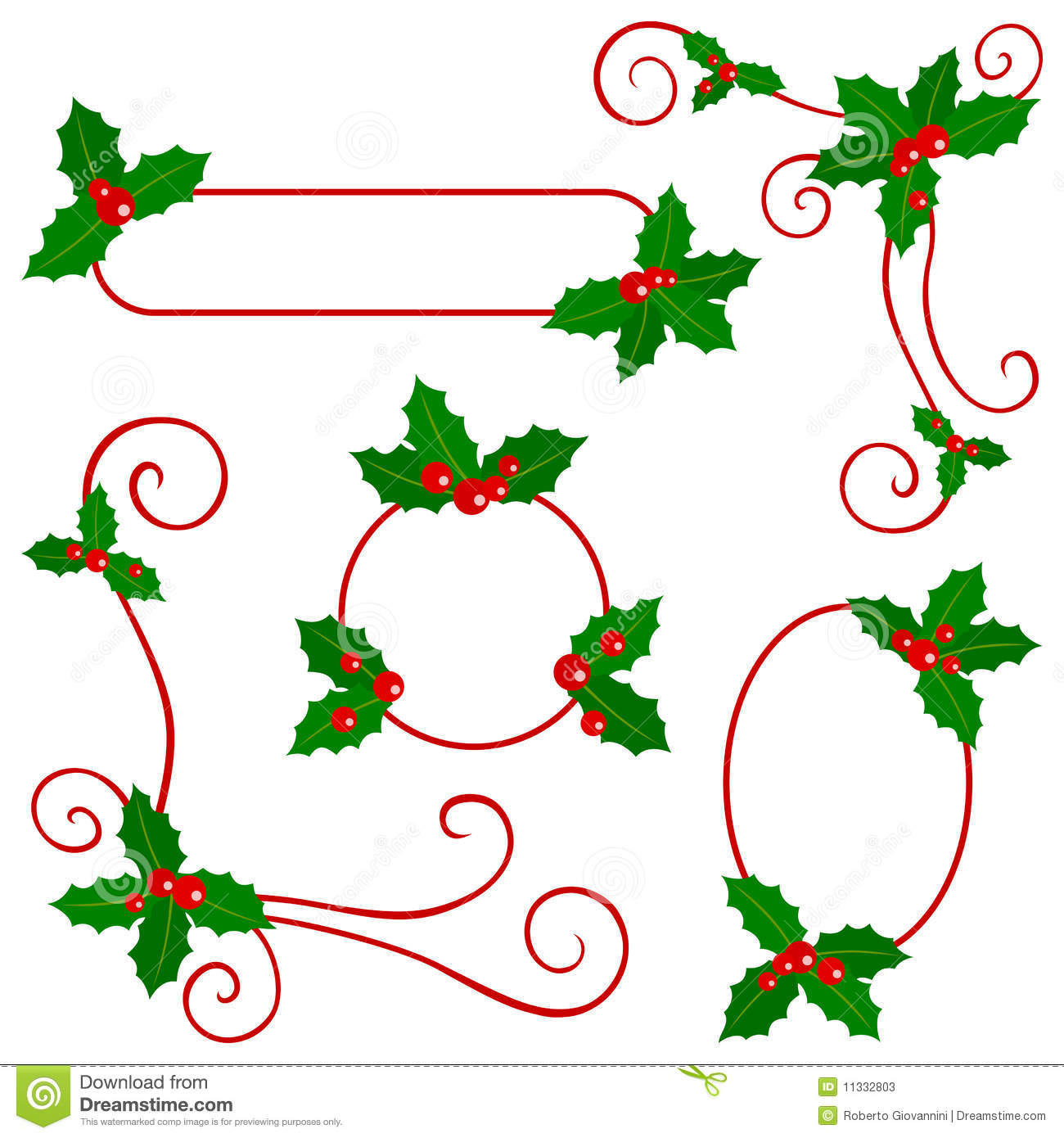 Holly Berry Borders stock vector. Illustration of design.