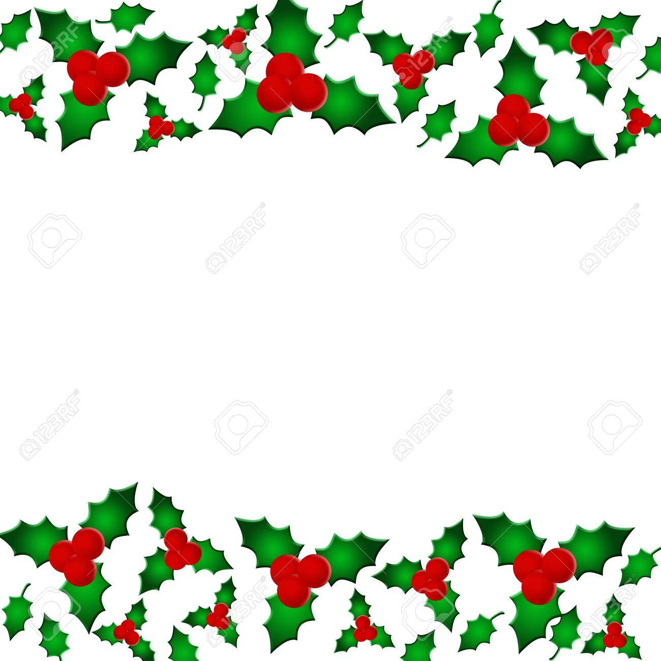 A holly berry border isolated on white with copy space, Christmas...