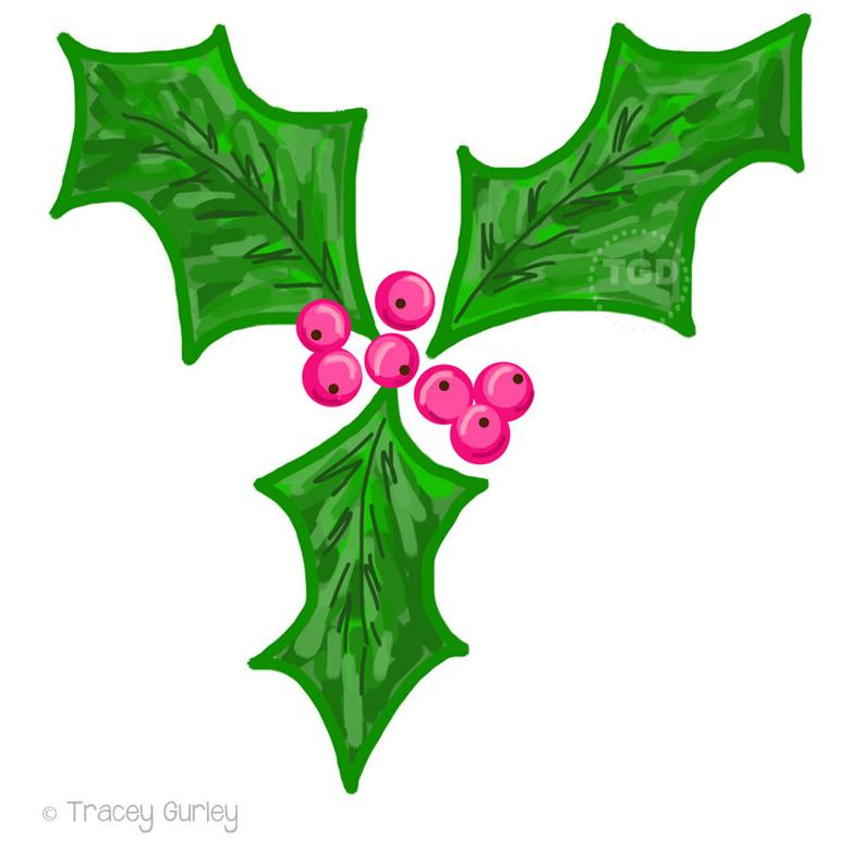 Holly Berry Clip Art, holly clip art, christmas clip art, holiday clip art,  christmas clipart, invitation clipart, watercolor clipart.