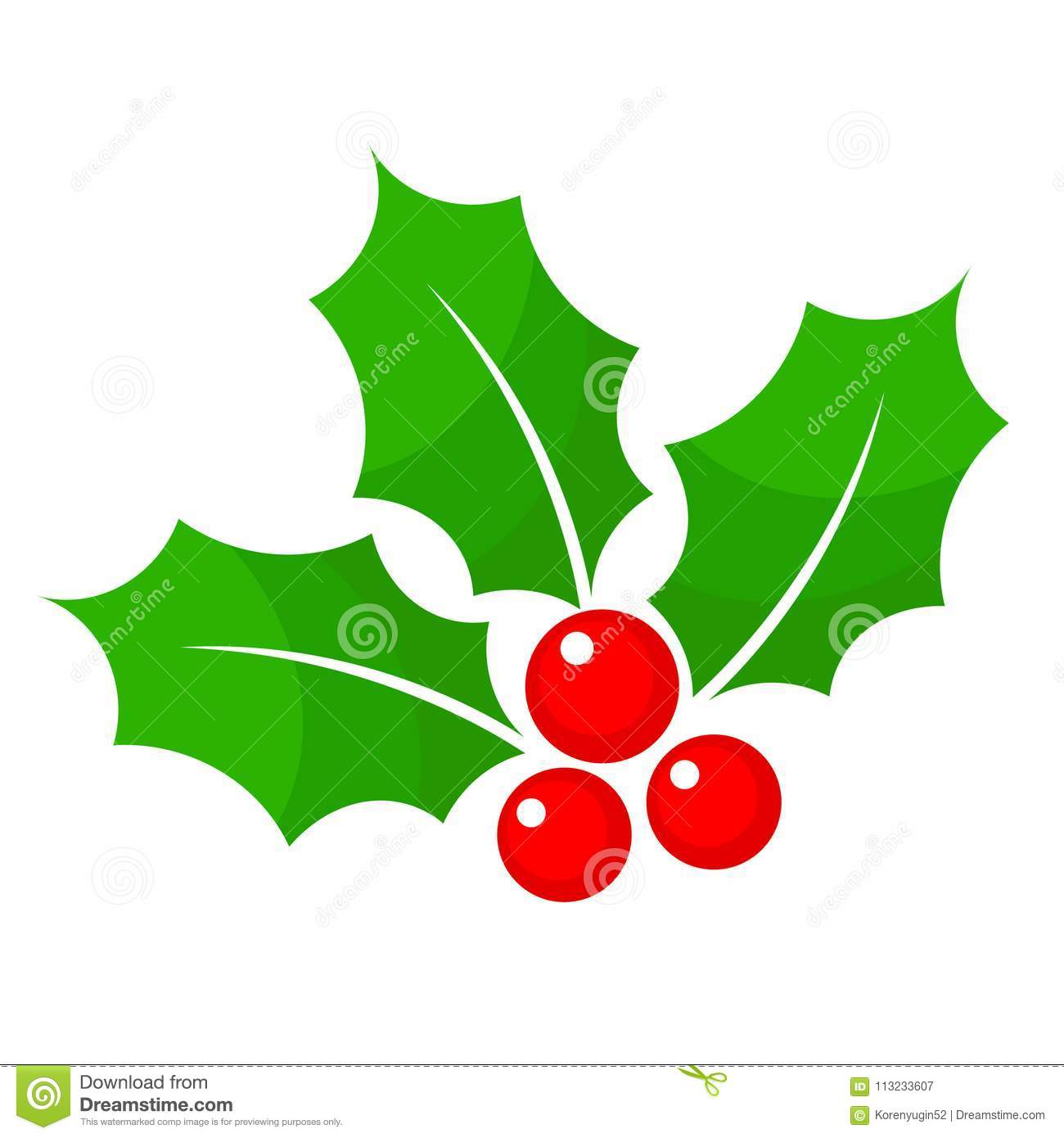 Christmas Holly Berry Flat Icon In Cartoon Style On White, Stock.