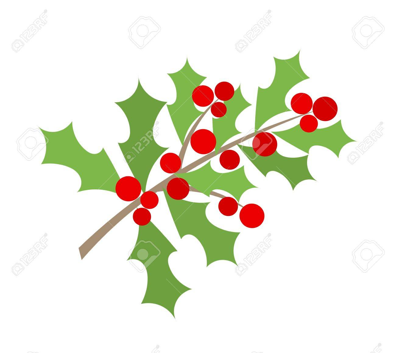 Christmas Branch Of Holly Berry Royalty Free Cliparts, Vectors, And.
