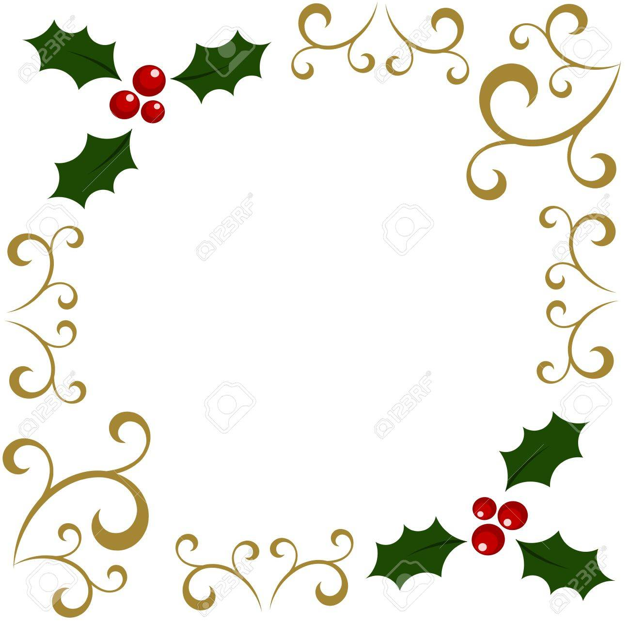 Christmas Holly Berry Border Clipart.