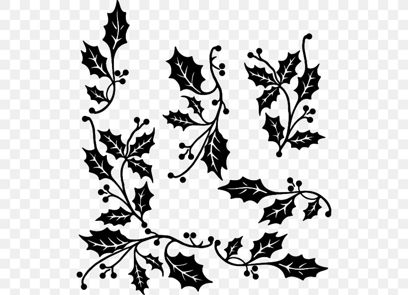 Common Holly Black And White Clip Art, PNG, 512x593px.