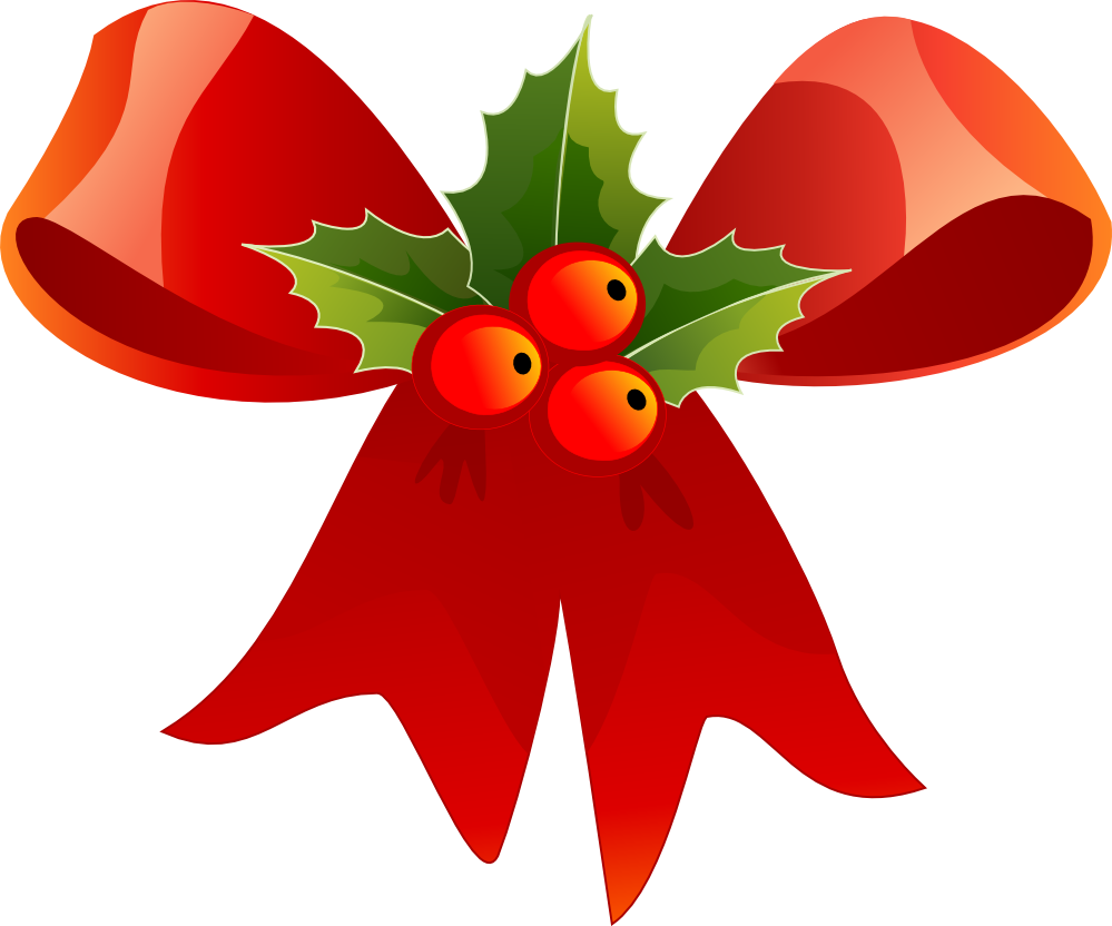 CHRISTMAS RED BOW AND HOLLY CLIP ART.