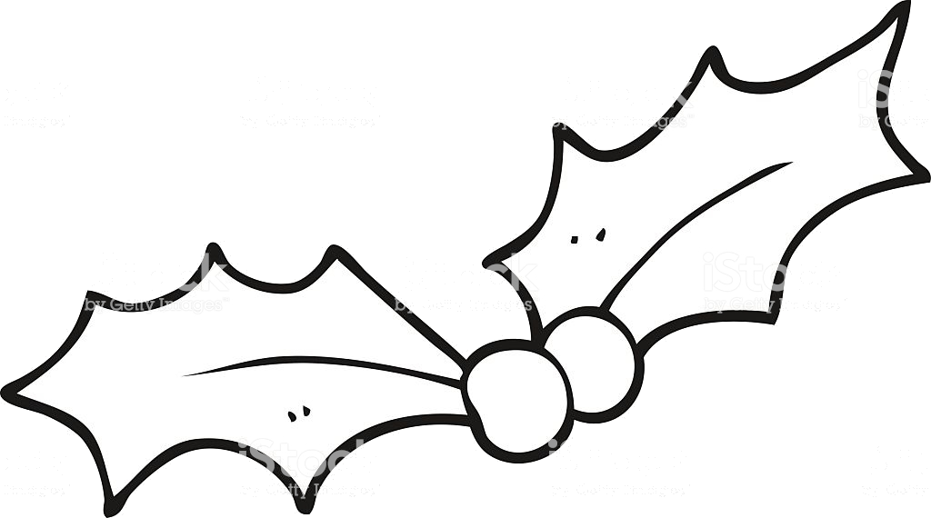 Holly Leaf Black And White Transparent Png.