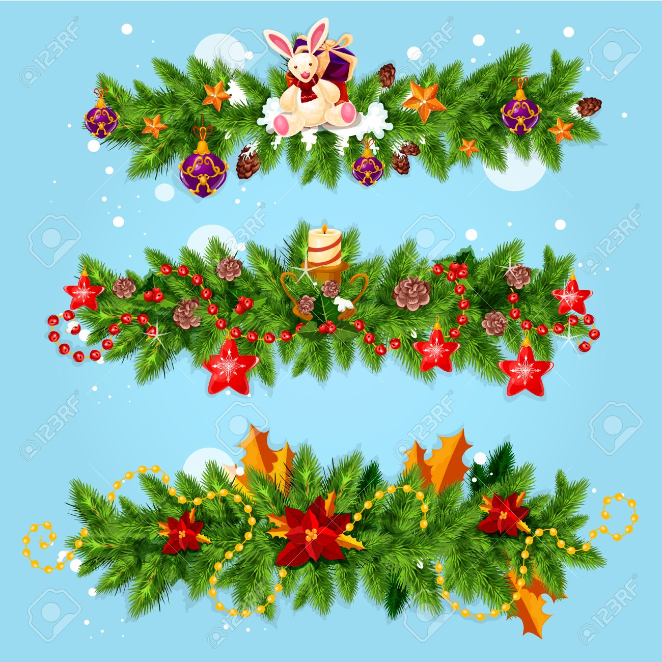 Christmas Garland Of Holly Berries. Contai #224181.