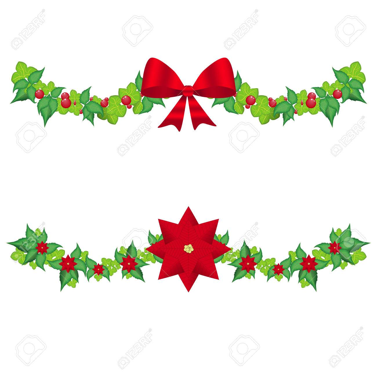 Set christmas holly garland vector on a white.