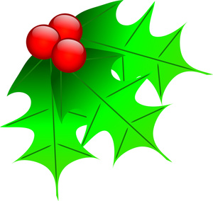 Red and green holly clipart vector.