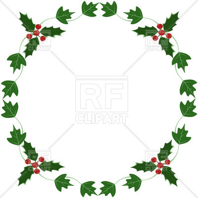Holly and ivy yule round frame Vector Image.