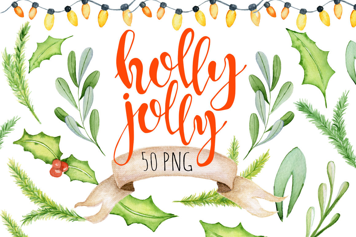 Christmas floral watercolor clipart Holly Jolly By.
