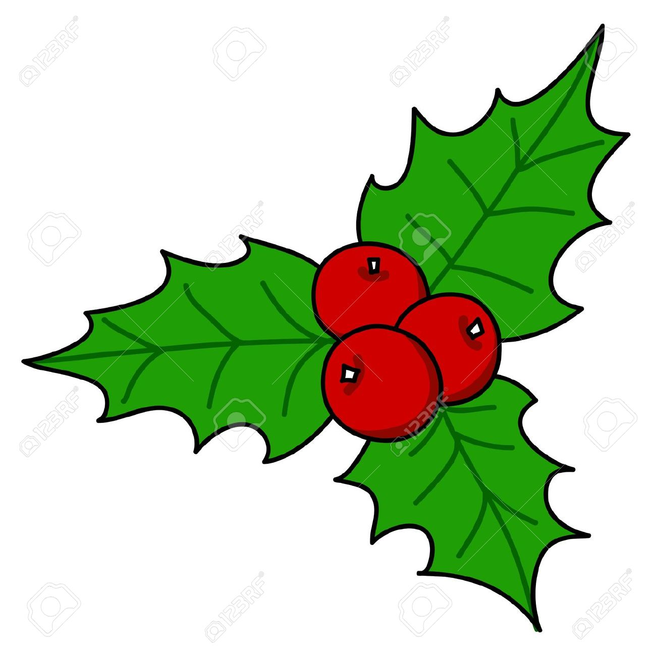 Holly Berry Christmas Hand Writing Cartoon. Royalty Free Cliparts.