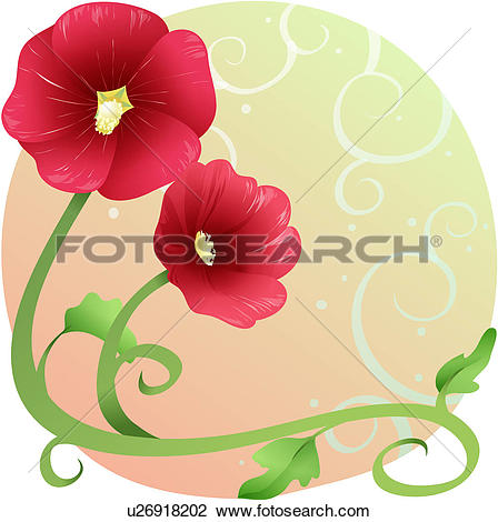 Hollyhock Clip Art and Illustration. 36 hollyhock clipart vector.