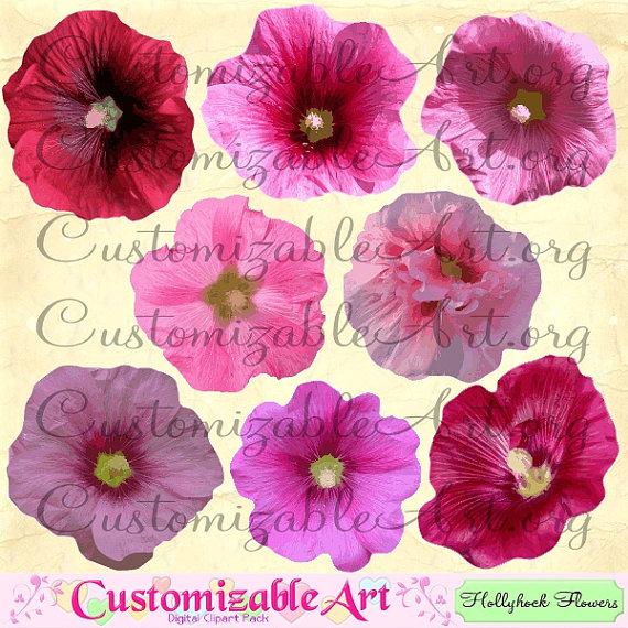 Hollyhock Clipart Digital Hollyhock Flower Clip by CustomizableArt.