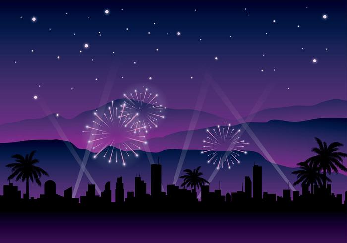 Hollywood Light Night Background Free Vector.