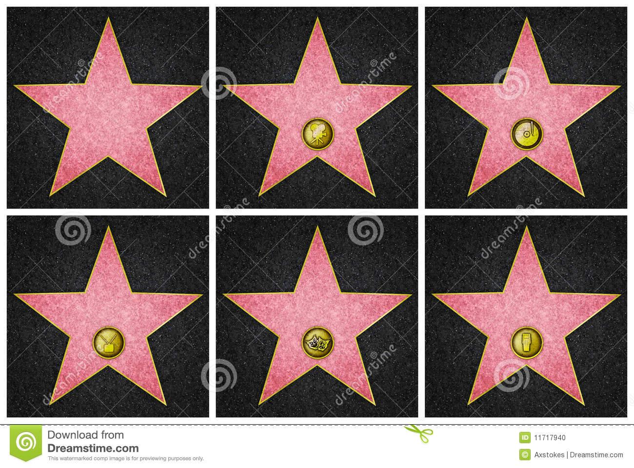 Hollywood Boulevard Stars Stock Photo.