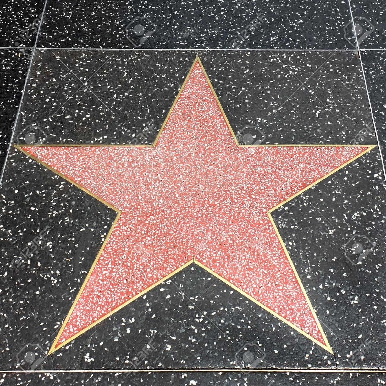 Star On The Hollywood Walk Of Fame At Hollywood Blvd Stock Photo.