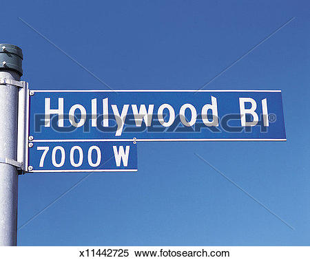 Stock Image of Street sign for Hollywood Boulevard, Los Angeles.