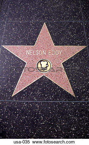 Stock Image of Nelson Eddy Pavement Star Hollywood Boulevard usa.