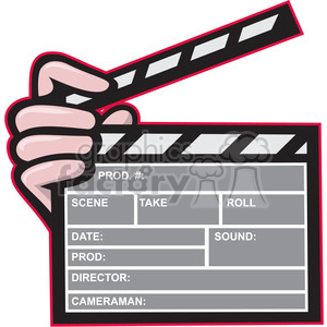 movie clapboard front hand clipart. Royalty.
