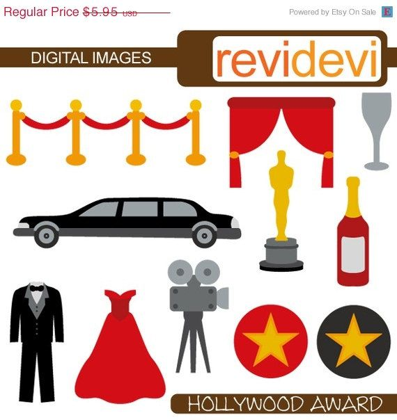 Hollywood red carpet party clip art commercial use. Limousine.