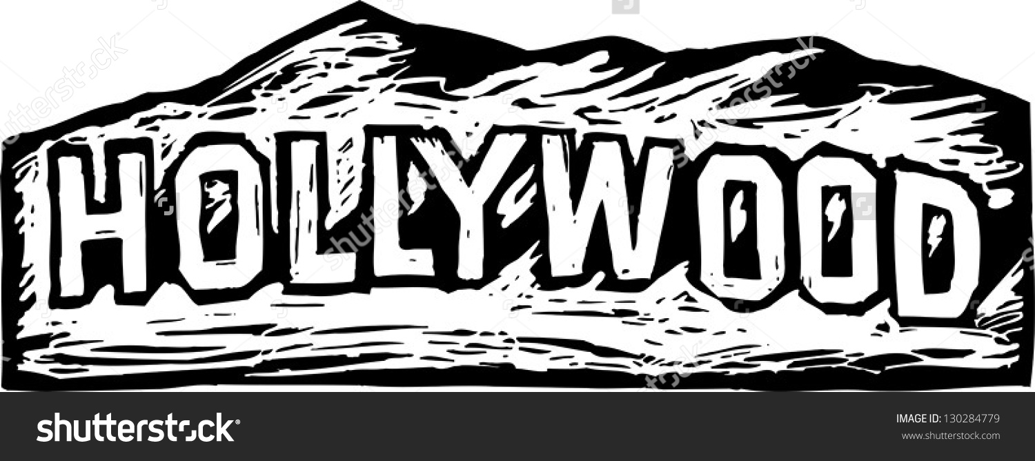 Black White Vector Illustration Hollywood Sign Stock Vector.