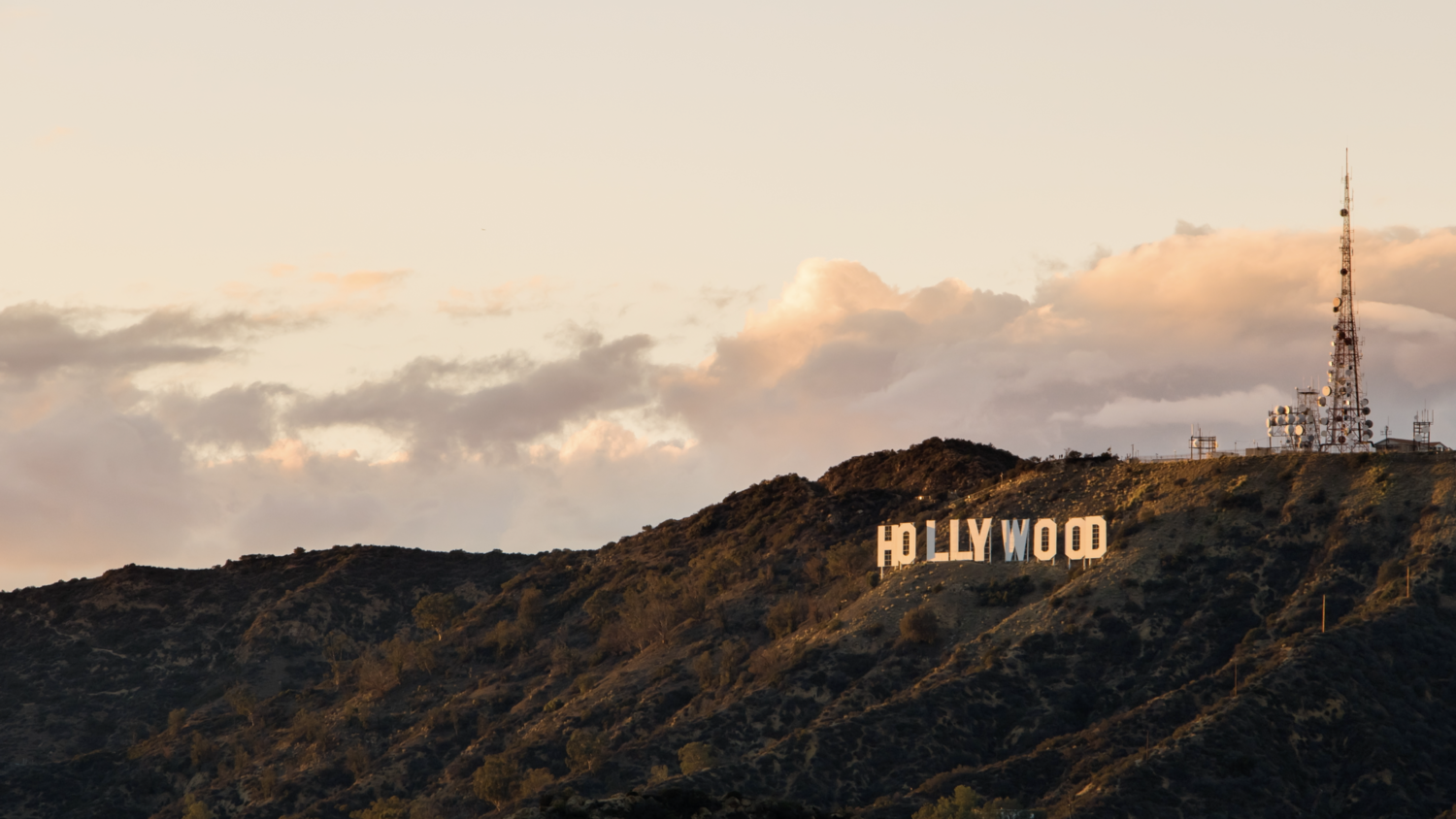 (HD) Hollywood Sign and Clouds Golden Hour.