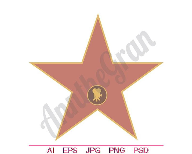 Hollywood Star Svg, Dxf, Eps, Png, Jpg, Vector Art, Clipart, Cut File.  Hollywood Svg. Movie Star Svg. Film Star Svg..