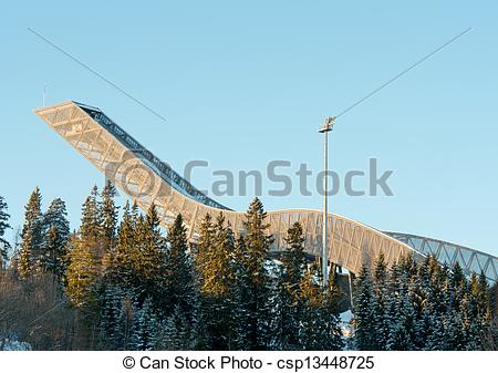 Stock Photo of Holmenkollen ski jump in Oslo Norway.