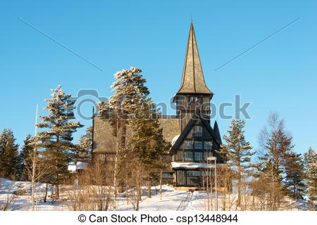 Stock Photo of Old Holmenkollen chapel on sunny winter day Oslo.
