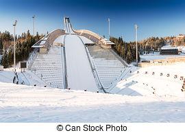 Stock Photography of OSLO, Holmenkollen ski jump hill Oslo, Norway.