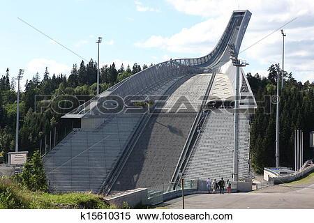 Stock Image of Holmenkollen ski jump hill Oslo, Norway on July 2.