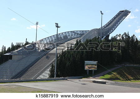 Stock Photograph of Holmenkollen ski jump hill Oslo, Norway on.