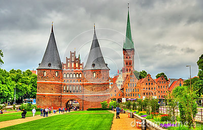Holsten Gate In Lubeck Old Town, Germany Stock Photo.