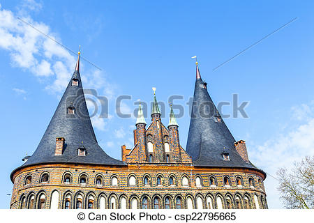 Stock Image of The Holsten Gate (Holstentor) in Lubeck old town.